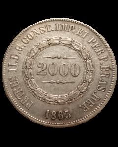 Brasil 2000 Réis 1865 - Prata