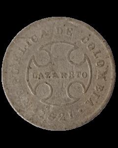 Colômbia 10 Centavos 1921 - Leprosarium Coinage