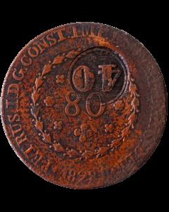 Brasil 40 Réis 1828 R - Contramarca em 80 Reis (21T, Inclinado á esquerda)