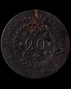 Brasil 20 Réis 1828 R (26 tulipas)