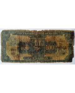 Brasil C006 100 Mil Réis com Carimbo 100 Cruzeiros 1942 UTG/BC
