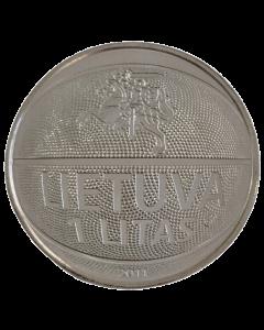 Lituânia 1 Litas 2011 FC - Campeonato Europeu de Basquete (Moeda vencedora do Prêmio Coin Of The Year)