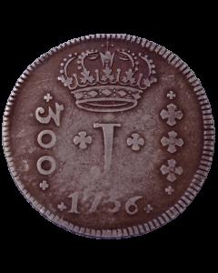 """Brasil 300 Réis """"J"""" 1756 B - Prata"""