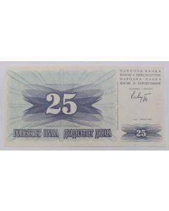 Bósnia e Herzegovina 25 Dinara 1992 FE