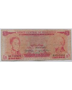Venezuela 5 Bolívares 1972