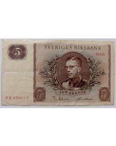 Suécia 5 Coroas 1960