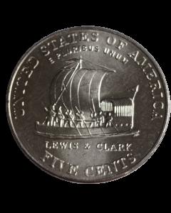 """Estados Unidos da América 5 Cents 2004 """"D"""" FC - Bicentenário da expedição de Lewis e Clark - Keelboat"""