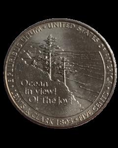 """Estados Unidos da América 5 Cents 2005 """"P"""" FC - Bicentenário da Expedição Lewis e Clark - Vista do Oceano"""