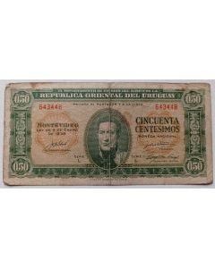 Uruguai 50 Centésimos 1939 - Série: Casa de Moneda, Edição do Chile, 1939