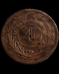 Uruguai 4 Centésimos 1869 - Cunhagem H , Reino Unido