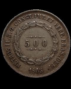 Brasil 500 Réis 1865 - Prata