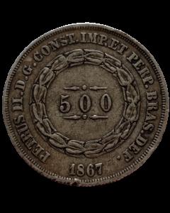 Brasil 500 Réis 1867 - Prata