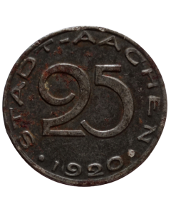 Cidade de Aachen 25 Pfennig 1920 - Notgeld