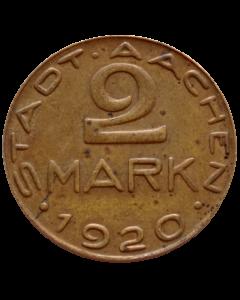 Cidade de Aachen 2 Mark 1920 - Alfred Rethel - Notgeld