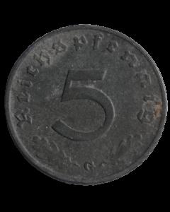 """Alemanha - Terceiro Reich 5 Reichspfennig 1940 G - """"Item não promove ou glorifica a violência.."""""""