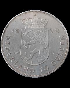 Holanda 10 Gulden 1973 - 25º aniversário - Reinado de Juliana (Prata)
