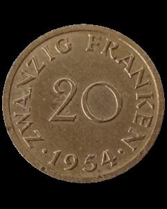Saarland 20 Francos 1954