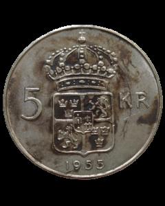 Suécia 5 Coroas 1955 - Prata