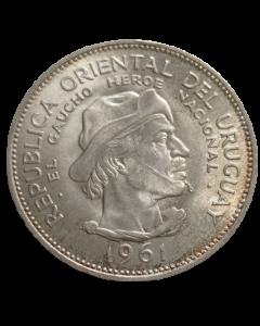 Uruguai 10 Pesos 1961 - Gaúcho - 150º aniversário - Revolução contra a Espanha (Prata)