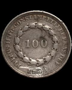 Brasil 100 Réis 1834 (furo tapado)
