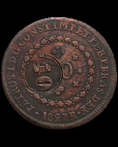 Brasil 40 Réis 1827 R - Contramarca em 80 Réis