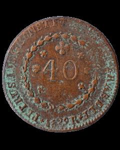 Brasil 40 Réis 1829 R - Dupla Batida