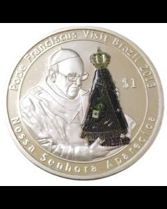 Ilhas Virgens Britânicas 1 Dólar 2014 - Visita do Papa Francisco ao Brasil (Exonumia)